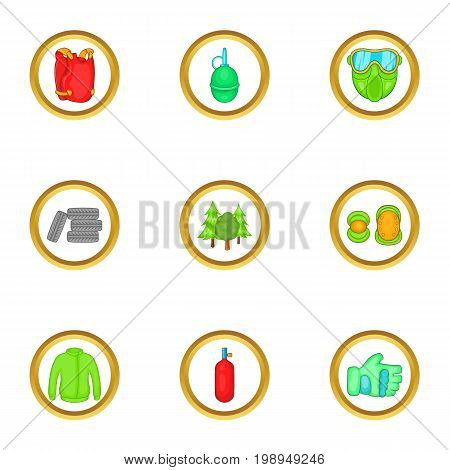 Paintball things icons set. Cartoon set of 9 paintball things vector icons for web isolated on white background