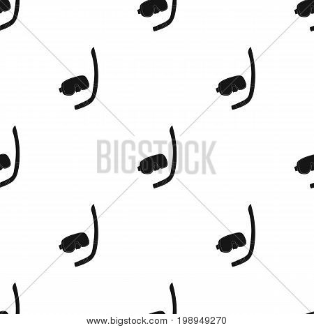 Mask and tube for diving icon in black design isolated on white background. Family holiday symbol stock vector illustration.