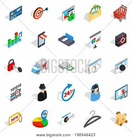 Online service icons set. Isometric set of 25 online service vector icons for web isolated on white background