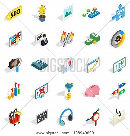 Spending on the internet icons set. Isometric set of 25 spending on the internet vector icons for web isolated on white background