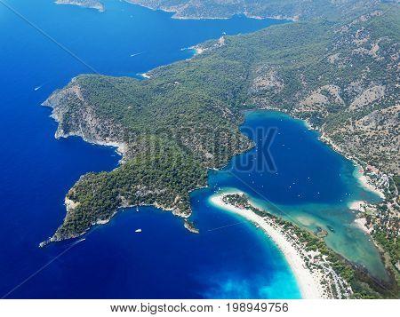 panorama of oludeniz lagoon in sea landscape view of beach