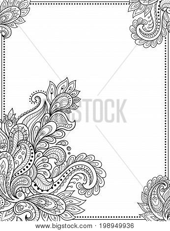 Stylized With Henna Tattoos Decorative Pattern For Decorating Covers For Book, Notebook, Casket, Mag