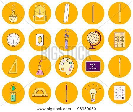 Vector Illustration Set Orange Round Icons, Line Art, Back To Sc