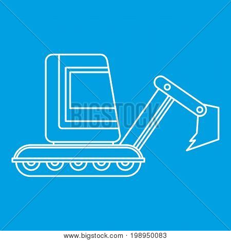 Mini excavator icon blue outline style isolated vector illustration. Thin line sign