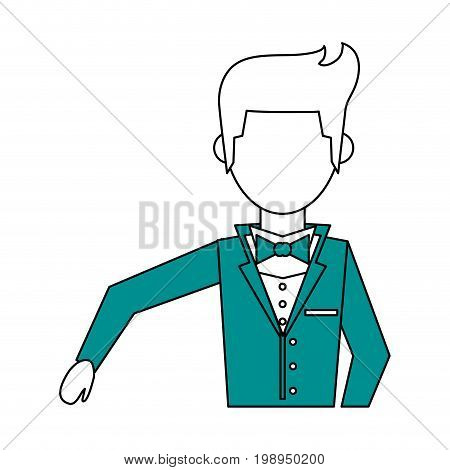 Flat line groom with a hint of color over white background vector illustration