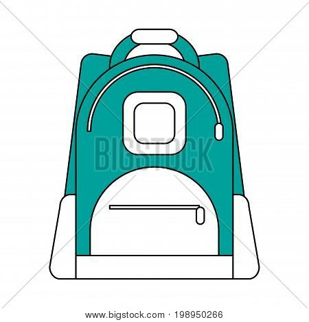 Flat line backpack with a hint of color over white background vector illustration