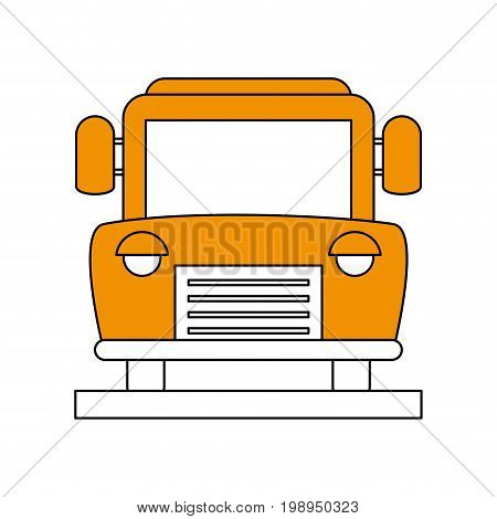 Flat line bus with a hint of color over white background vector illustration