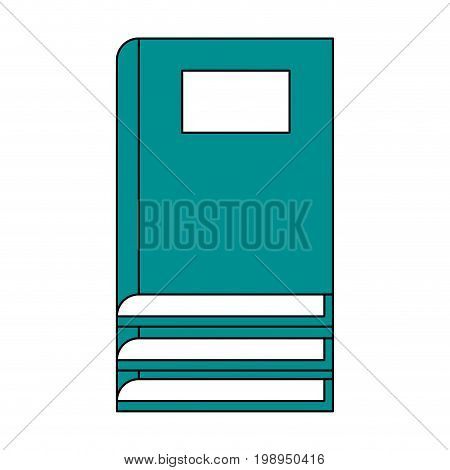 Flat line books with a hint of color over white background vector illustration