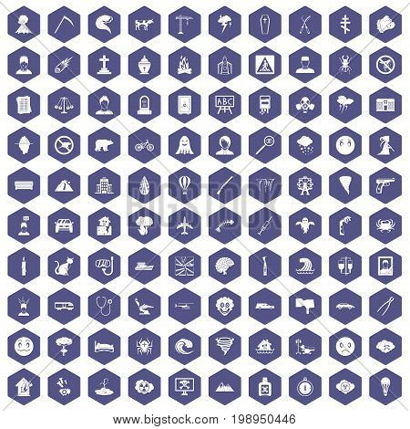 100 phobias icons set in purple hexagon isolated vector illustration