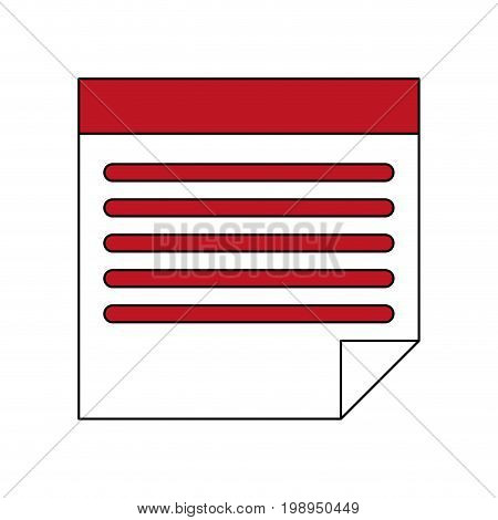 Flat line sticky note with a hint of color over white background vector illustration