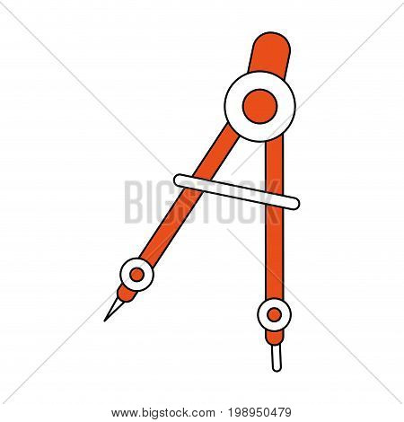 Flat line compass with a hint of color over white background vector illustration