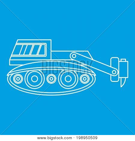Excavator with hydraulic hammer icon blue outline style isolated vector illustration. Thin line sign