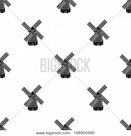 Rural wooden mill. Mill for grinding grain into flour.Farm and gardening single icon in black style vector symbol stock web illustration.