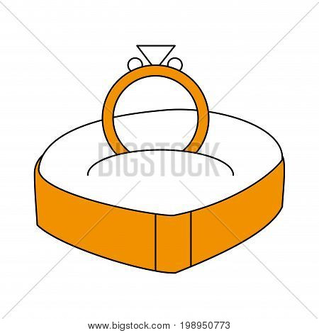 Flat line ring with a hint of color over white background vector illustration