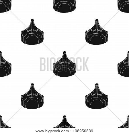 Mongolian military helmet.Colored metal helmet conical shape.Mongolia single icon in black style vector symbol stock web illustration.