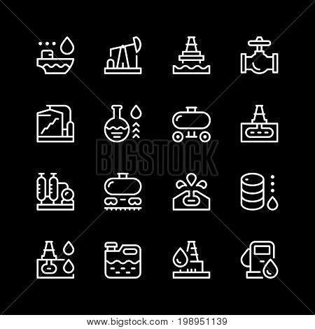Set line icons of oil industry isolated on black. Vector illustration