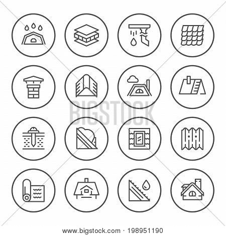 Set round line icons of roof isolated on white. Vector illustration