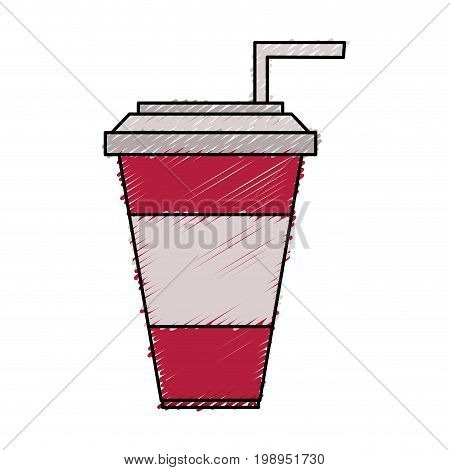 Colorful soda cup doodle over white background vector illustration