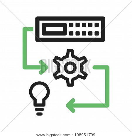 Machine, learning, technology icon vector image. Can also be used for Data Analytics. Suitable for mobile apps, web apps and print media.