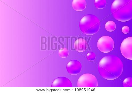 Abstract pink and violet background with realistic spheres. Trendy pink abstract vector illustration. Pink violet oil drops on vibrant background. Fashion or beauty banner template. Feminine backdrop