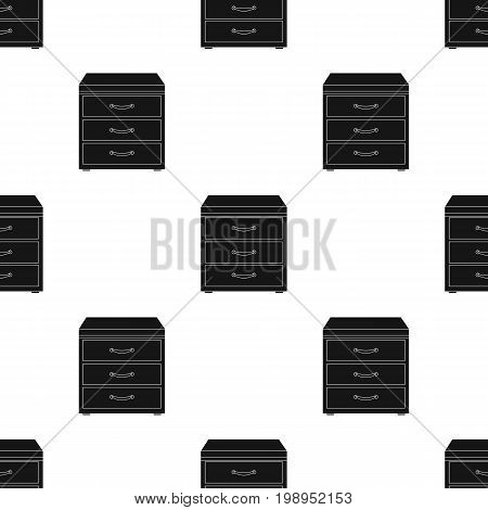 Office filing cabinet icon in black style isolated on white background. Office furniture and interior symbol vector illustration.