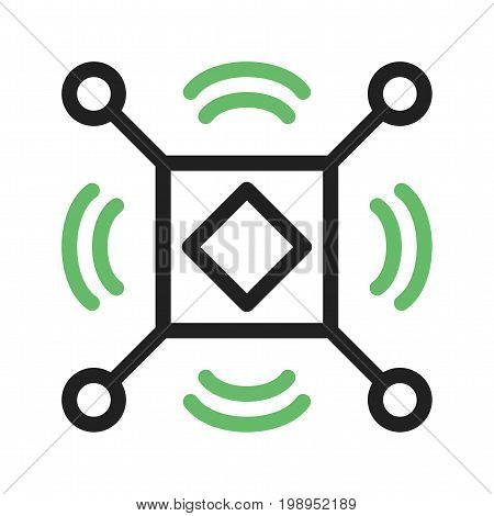 Data, sensor, cyber icon vector image. Can also be used for Data Analytics. Suitable for mobile apps, web apps and print media.