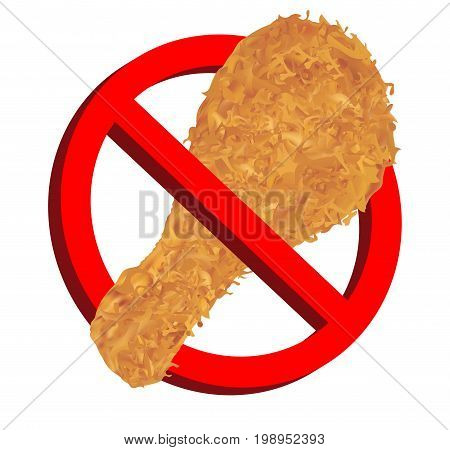 no food with chicken fries icon prohibition sign
