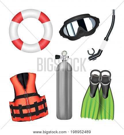 set of scuba diving tool on a white background