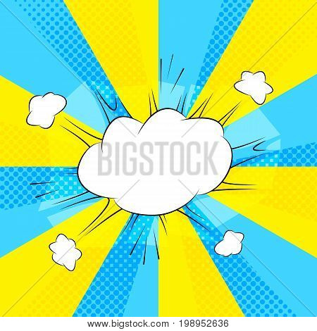 Comic action bubble on blue and yellow background vector illustration. Exclamation or explosion speech. Emotional text cloud. Retro pop art message bubble. Idea cloud. Sale or discount advertisement