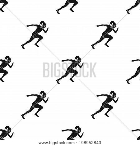 The girl is engaged in athletics.The Olympics in athletics.Olympic sports single icon in black style vector symbol stock web illustration.