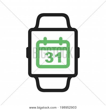 App, watch, calendar icon vector image. Can also be used for Smart Watch. Suitable for mobile apps, web apps and print media.