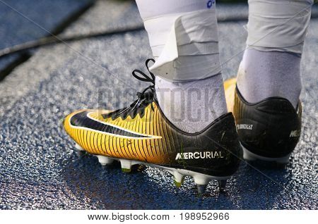 KYIV UKRAINE - JULY 26 2017: Close-up boots (Nike Mercurial) of footballer Derlis Gonzalez of FC Dynamo Kyiv during UEFA Champions League 3rd qualifying round game against Young Boys
