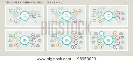Business hierarchy infographic. Organization charts with 3, 4, 5, 6, 7, 8 options. Vector templates.