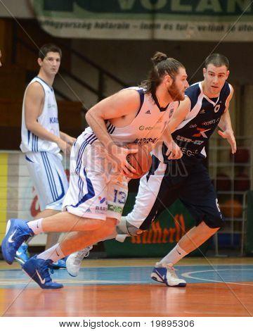 KAPOSVAR, HUNGARY - JANUARY 26: Kurt Cunningham (13) in action at a Hugarian Cup basketball game Kaposvar vs. Szeged January 26, 2011 in Kaposvar, Hungary.