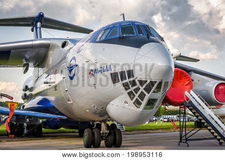Moscow Region - July 21, 2017: Russian strategic airlifter Ilyushin Il-76 at the International Aviation and Space Salon (MAKS) in Zhukovsky.