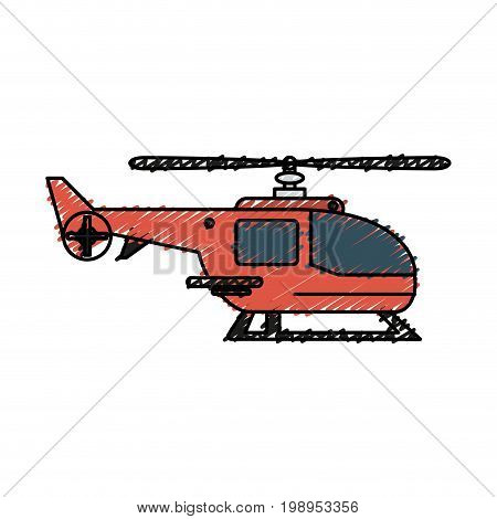 Colorful helicopter doodle over white background vector illustration
