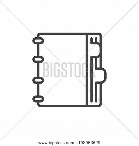 Agenda line icon, outline vector sign, linear style pictogram isolated on white. Notebook with bookmarks symbol, logo illustration. Editable stroke. Pixel perfect vector graphics
