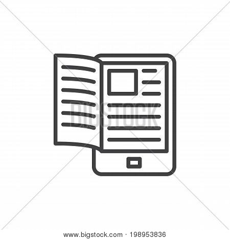 Electronic book reader line icon, outline vector sign, linear style pictogram isolated on white. symbol, logo illustration. Editable stroke. Pixel perfect vector graphics