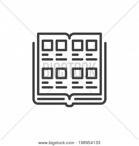 Yearbook line icon, outline vector sign, linear style pictogram isolated on white. Symbol, logo illustration. Editable stroke. Pixel perfect vector graphics