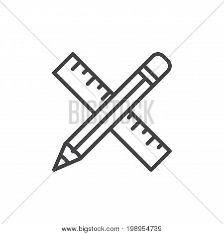 Pencil and ruler crossed line icon, outline vector sign, linear style pictogram isolated on white. Drawing tools symbol, logo illustration. Editable stroke. Pixel perfect vector graphics