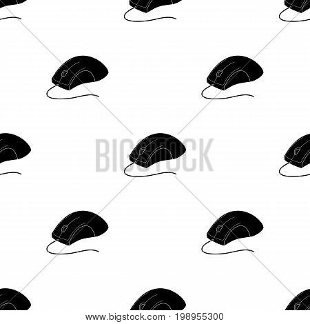 Computer mouse icon in black design isolated on white background. Personal computer accessories symbol stock vector illustration.