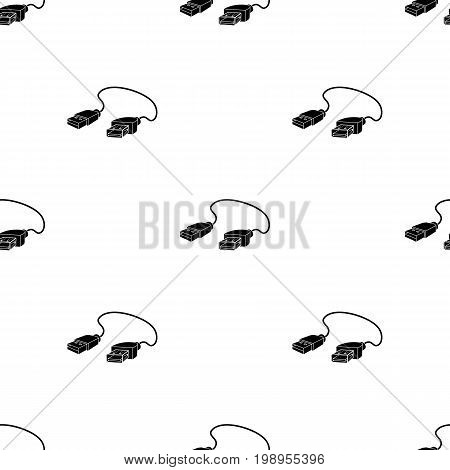 USB cable icon in black design isolated on white background. Personal computer accessories symbol stock vector illustration.