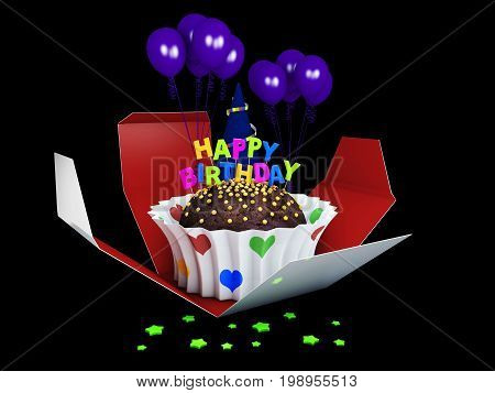 3D Illustration Of Birthday Cake With Chocolate Creme, Stars And Balloons.