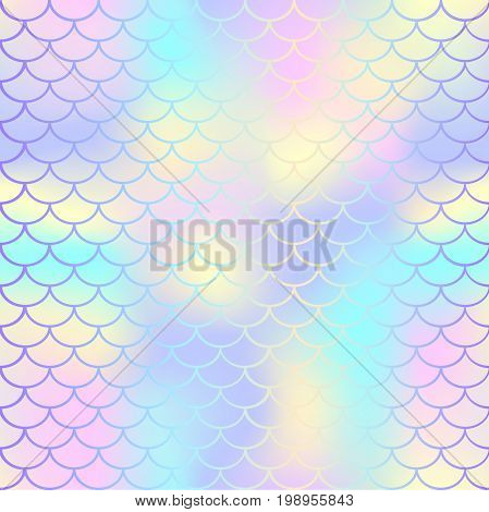 Fish scale texture vector pattern. Magic mermaid tail background. Colorful seamless pattern with fish scale net. Pale rainbow mermaid skin surface. Mermaid seamless pattern swatch. Nursery background