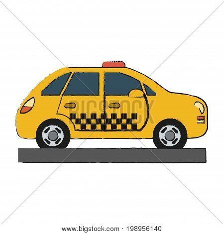 Colorful taxi cab doodle over white background vector illustration