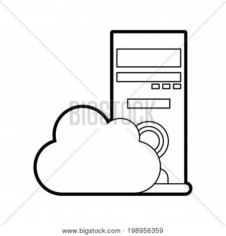 Flat line uncolored cloud storage over white background vector illustration