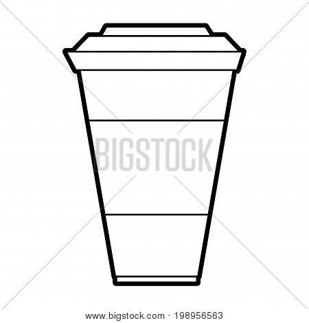 Flat line uncolored cup over white background vector illustration