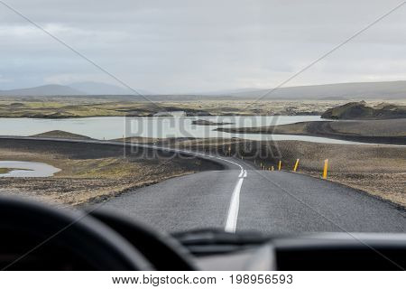Road in Valley National Park Landmannalaugar, Iceland in the July.