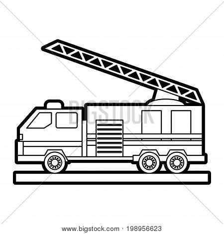 Flat line uncolored firetruck over white background vector illustration