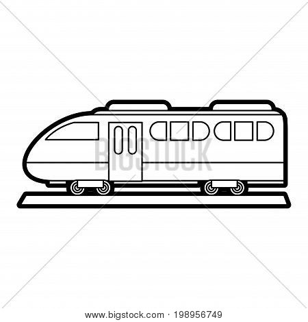 Flat line uncolored train over white background vector illustration